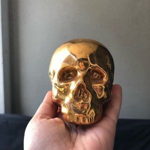 Seletti My Skull REAL GOLD coated skull figure